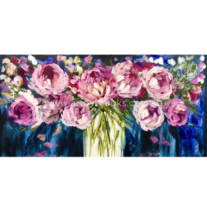 Floribunda Peony - Original On Canvas 75 X150Cm Originals