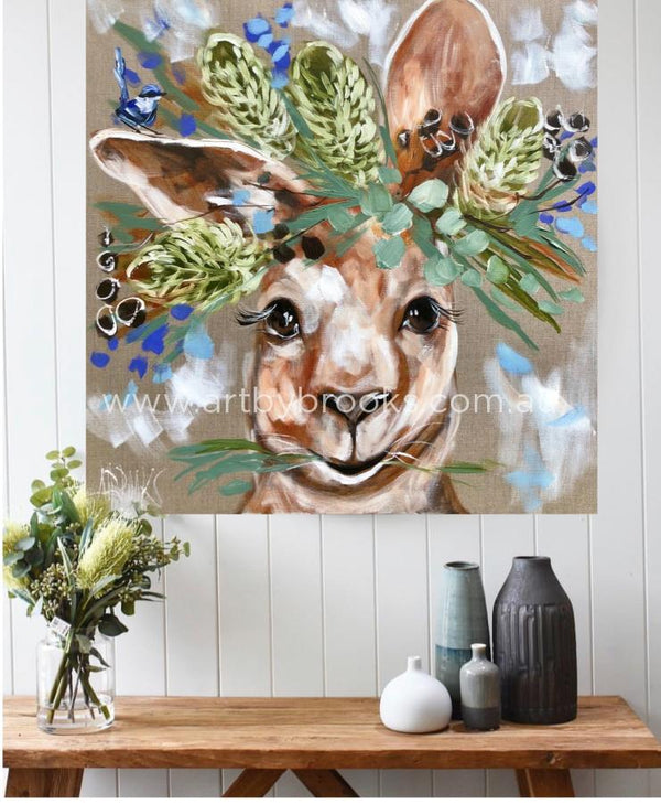 Forget Me Not Kangaroo- Original On Belgian Linen 76X76 Cm Medium Sized Originals