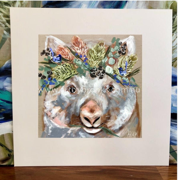 Forget Me Not Wombat - Matte Board Print Art