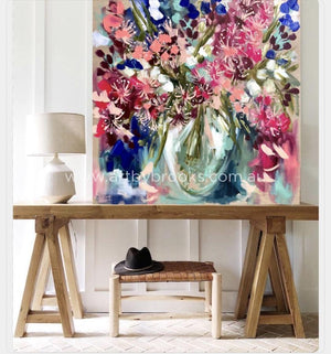 Fragrant Pink Eucylyptus - Original On Belgian Linen 90X90Cm Originals