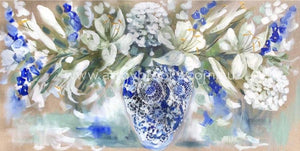 Fragrant White Lily And Delphiniums -Art Print Art