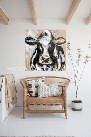 Friesian - Original On Belgian Linen 90X90Cm Originals