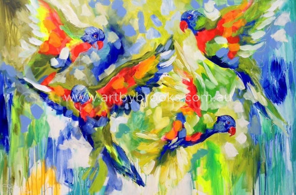 Full Flight Lorikeets - Art Print Art Prints
