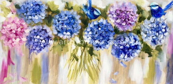 Full Hydrangeas And Blue Wrens - Art Print Art Prints