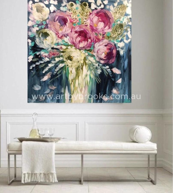 Gentle Blush Peony - Original On Canvas 120X120Cm Medium Sized Originals