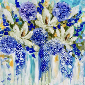 Golden Grandiflora - Original On Canvas 120 X120 Cm Originals