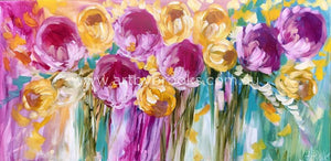Golden Tulip And Peony - Original On Linen 75X150 Cm Medium Sized Originals