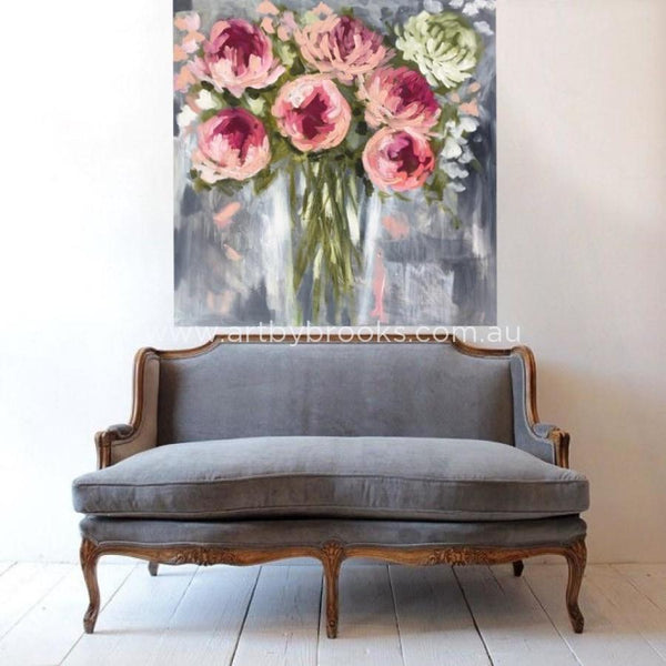 Grand Peony - Original On Canvas 120X120Cm Original