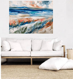 Grassy Dunes At Dusk - Original On Canvas 90 X120 Cm Originals