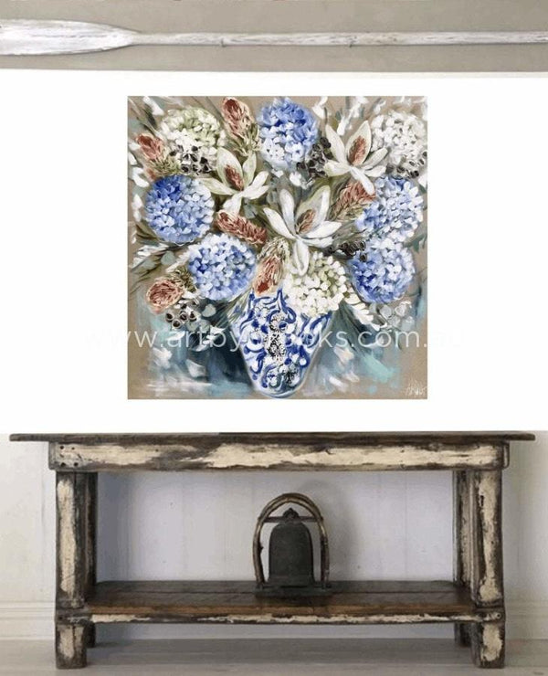 Hamptons Glory Magnolia And Bush Natives - Original On Canvas 120X120Cm Medium Sized Originals