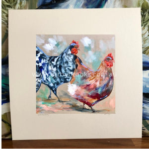 Happy Hens 2-Matte Board Print Art