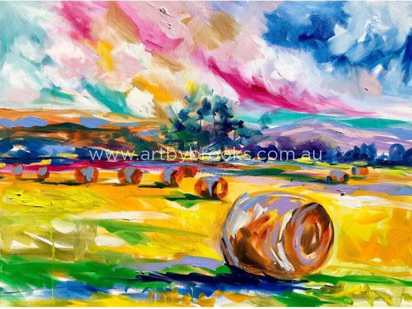 Hay Bales At Dusk - Art Print Art