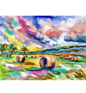 Hay Bales At Sunrise - Art Print Art