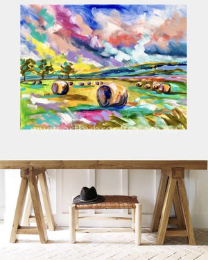 Hay Bales At Sunrise -Original On Canvas 90X120 Cm Originals