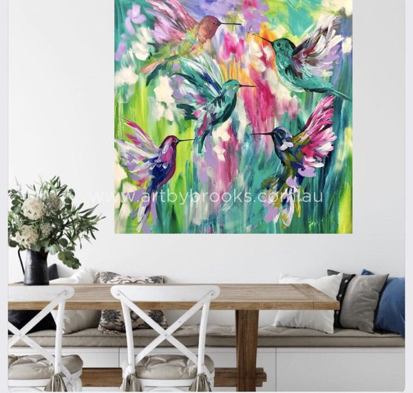 Jewels In Flight - Original On Canvas 120X120Cm Medium Sized Originals