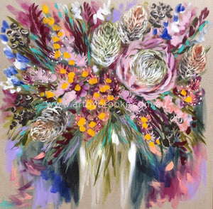 King Protea And Banksia - Original On Belgian Linen 120X120Cm Originals