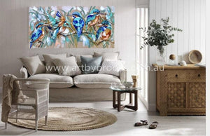 Kingfisher Kingdom -Original On Belgian Linen 75 X150 Cm Originals