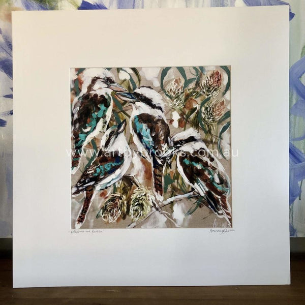 Kookaburra And Banksia - Matte Board Print Art