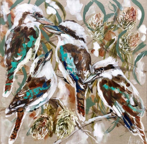 Kookaburra And Banksia - Original On Linen 90X90Cm Original