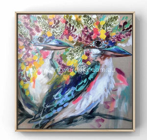 Kookaburra Love -Original On Belgian Linen 90X90 Cm Medium Sized Originals