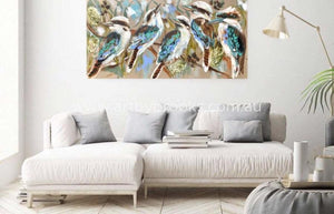 Kookaburras And Flowering Banksia -Original On Belgian Linen 75X150 Originals