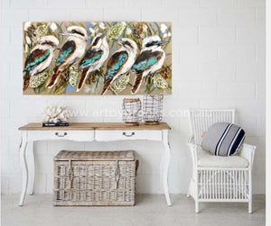Kookaburras And Silver Banksia -Original On Belgian Linen 75X150 Originals