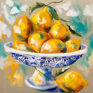 Lemon Delicious - 90 X90 Cm Original On Belgian Linen Originals