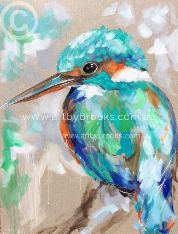 Little Kingfisher - Original On Linen 75 X100 Cm Originals