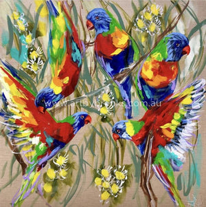 Lorikeet Celebration -Art Print Art
