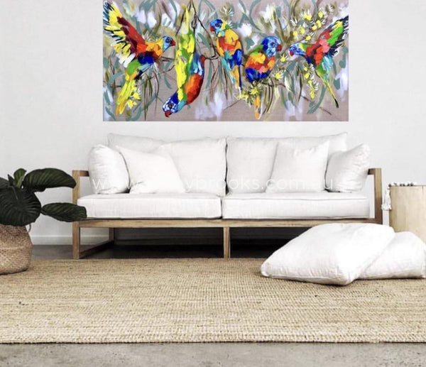 Lorikeets And Cascading Gum - Original On Belgian Linen 75X150 Cm