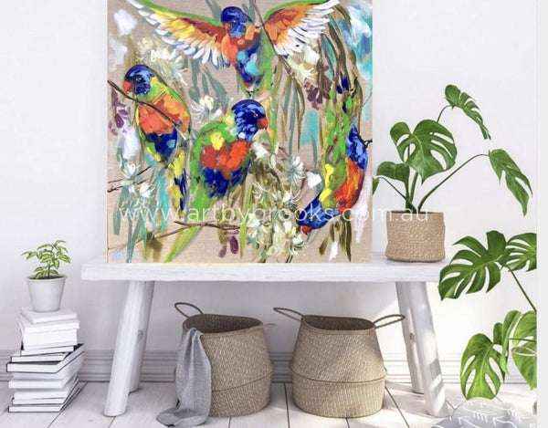 Lorikeets And White Gum Blossom - Original 90 X90 Cm