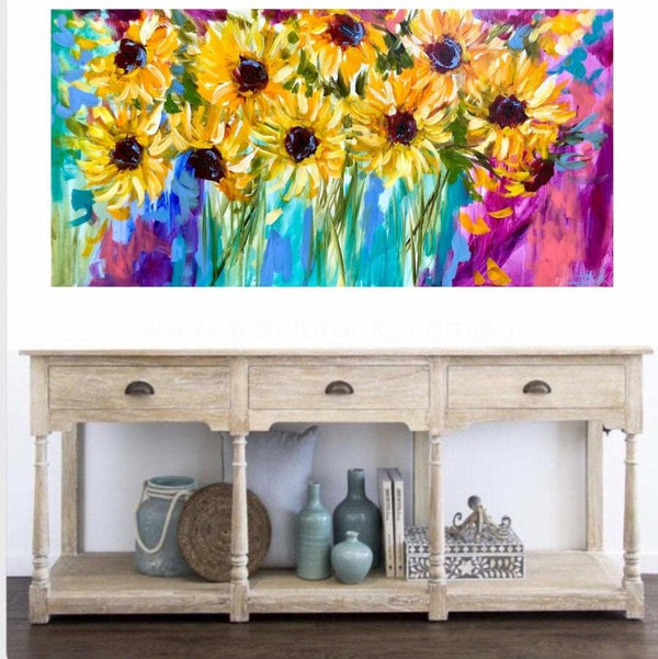Love And Joy Sunflowers Original On Linen 75X150 Cm Medium Sized Originals