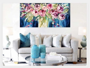 Magenta Peony And Silver Banksia -Original On Belgian Linen 75 X150 Cm Originals