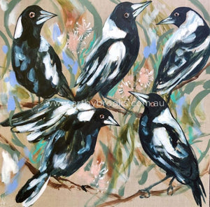 Magpie Lane - Original On Belgian Linen 90X90Cm Originals