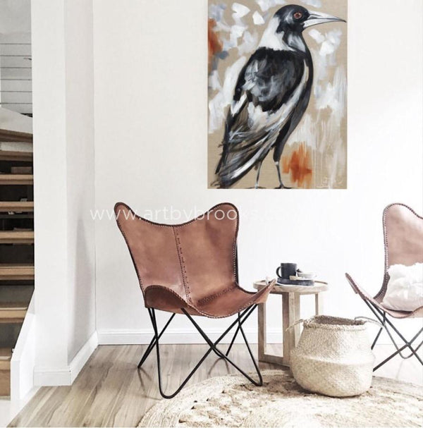 Magpie Song - Original On Belgian Linen 75 X100 Cm Original
