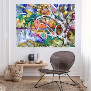 Majestic River Gum At Dusk -Original On Canvas 90X120 Cm Medium Sized Originals