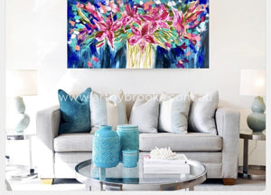 Midnight Oriental Lily - Original On Canvas 75 X150Cm Originals