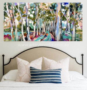 Misty Forest Gums - Original On Canvas 75 X150 Cm Originals