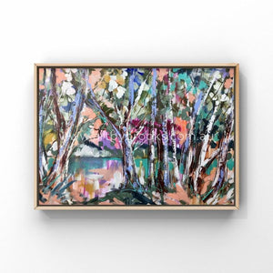 Misty Morning Scribbly Gums -Original On Gallery Canvas 100X150 Cm Medium Sized Originals