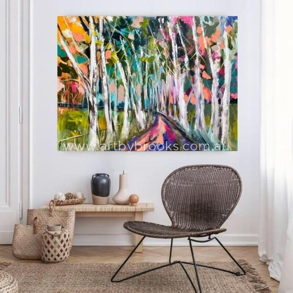 Misty Snow Gum Lane -Original On Canvas 90X120 Cm Medium Sized Originals