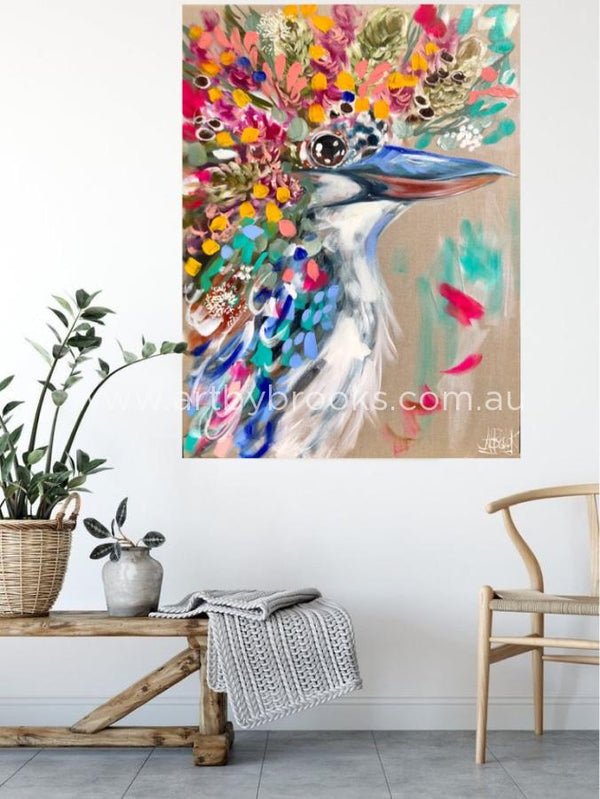 Morella - Kookaburra -Original On Belgian Linen 75 X100 Cm Medium Sized Originals