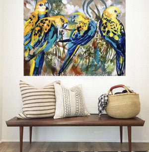 Pale Headed Rosellas -Original On Belgian Linen 75 X100Cm Originals