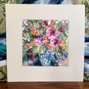 Peony And Banksia - Matte Board Print Art