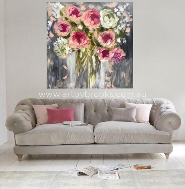 Peony Pirouette - Original On Canvas 120X120Cm Originals