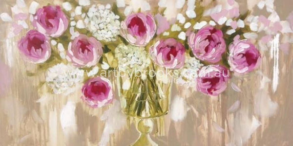 Peony Promise - Original On Canvas 75 X150 Cm Originals