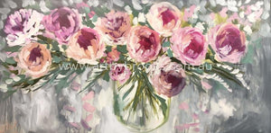 Peony Romance -Original On Canvas 75 X150Cm Originals