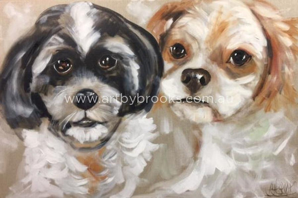 Pet Portrait - Commisioned 60 X90Cm On Belgian Linen Originals
