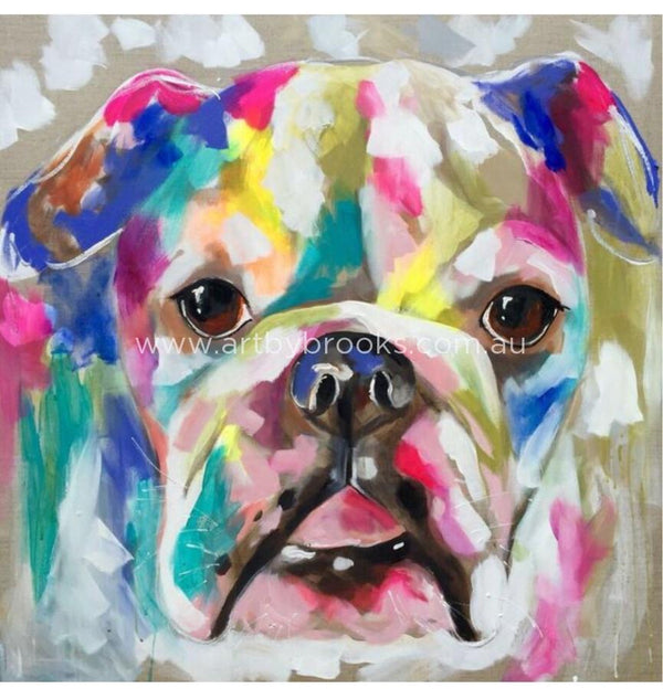 Pet Portrait - Lola -90 X90 Cm On Belgian Linen Originals
