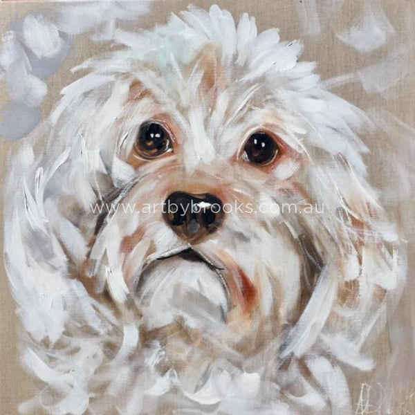 Pet Portrait - Tess 60X60 Cm On Belgian Linen Originals