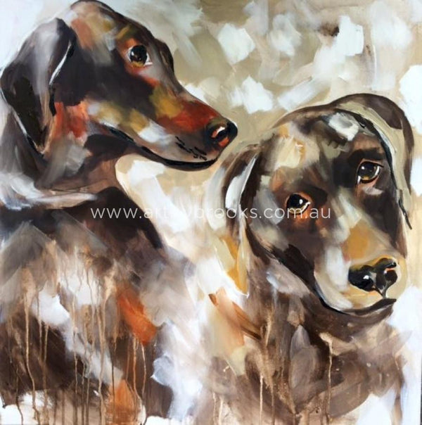 Pet Portraits - Dobermans 90X90Cm Original